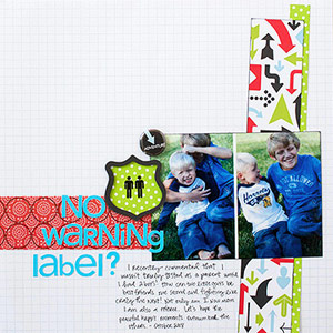 Scrapbook page about brothers; sign elements