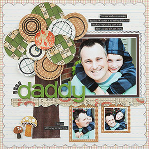 Scrapbook page with father and son; paper-pieced tree accent