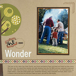 Boy scrapbook page; outdoor; grilling