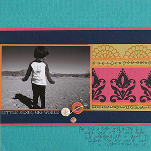 Scrapbook page with stamped patterned paper