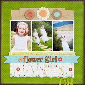 Scrapbook page with aqua accents