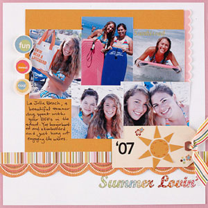 summer multiphoto scrapbook page; 5 photos
