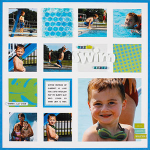 grid format multiphoto scrapbook page; scquare cropped photos