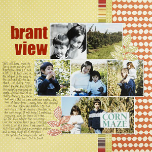 multiphoto scrapbook page; 6 layered photos