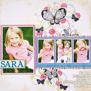 multiphoto scrapbook page; 1 large photo, 3 supporting photos