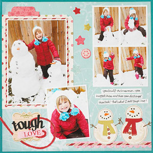 winter multiphoto scrapbook page; 6 photos