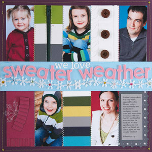 winter multiphoto scrapbook page; 5 photos