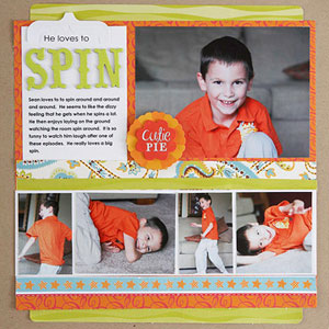 multiphoto scrapbook page; 1 large photo, 4 photos in a strip
