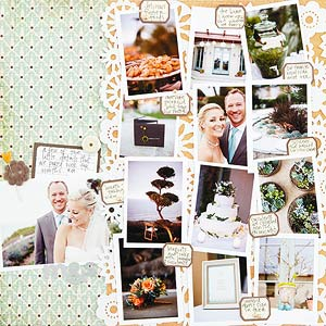 wedding multiphoto scrapbook page; 13 photos