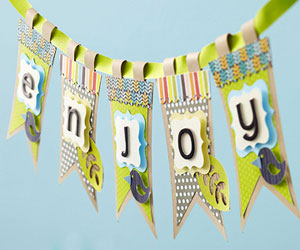 Party banner made with die cuts