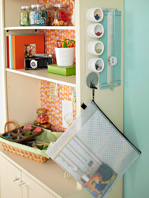 Scrapbook storage solutions; hutch