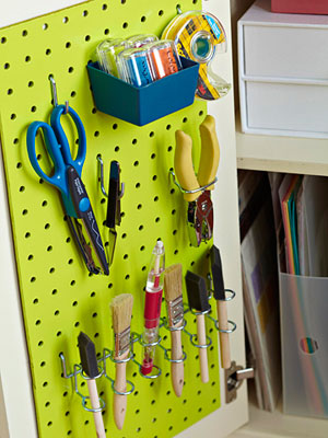 Pegboard storage solutions