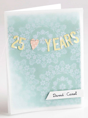 Die-cut letters Anniversary card