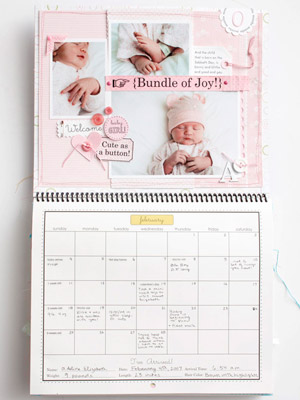 February baby calendar page
