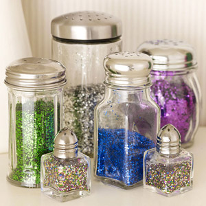 Salt and Pepper shakers with glitter