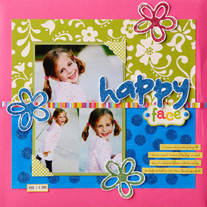 Happy Face Scrapbook Page