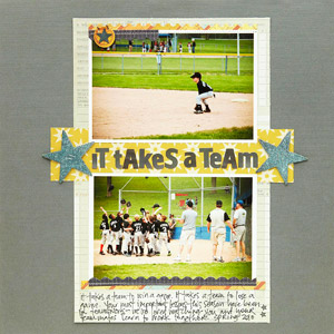 It Takes a Team Scrapbook Page