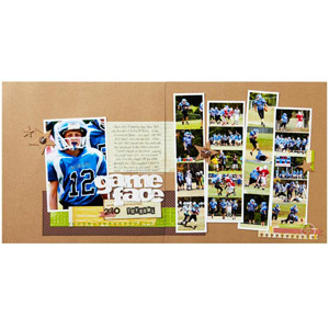 Football Photo Strips Scrapbook Pages