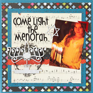 Lit Menorah Scrapbook Page