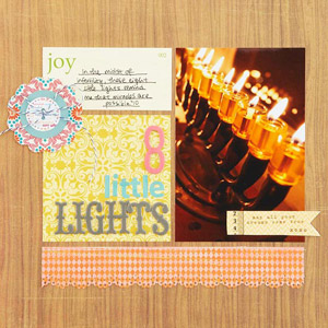 8 Little Lights Hanukkah Scrapbook Page