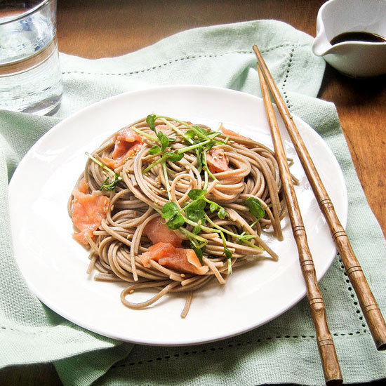 Grilled Salmon with Soba Noodles and Edamame Salad