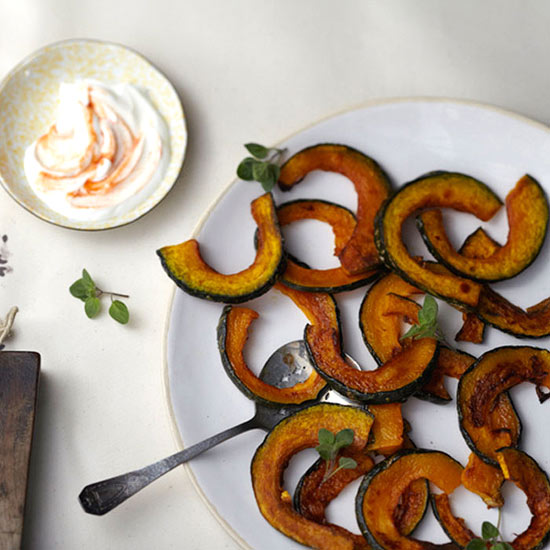 Kabocha Squash Fries with Spicy Greek Yogurt Sriracha