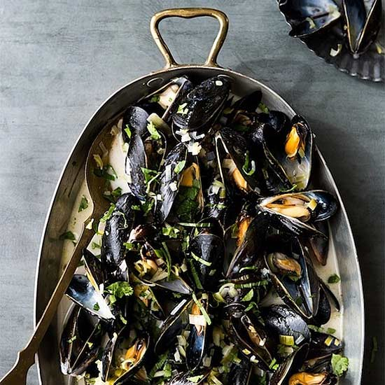 Coconut, Ginger, and Cilantro Mussels