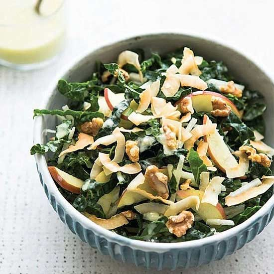 Shredded Kale, Jicama, and Apple Salad With Toasted Coconut