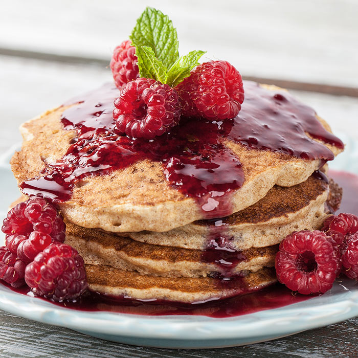 Cinnamon-Wheat Pancakes with Hot Boysenberry Compote