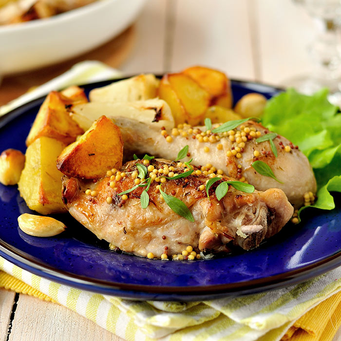 Chicken With Basil-Mustard Sauce