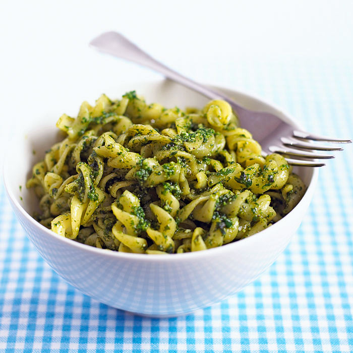 Kasha Pasta with Lemon Pesto
