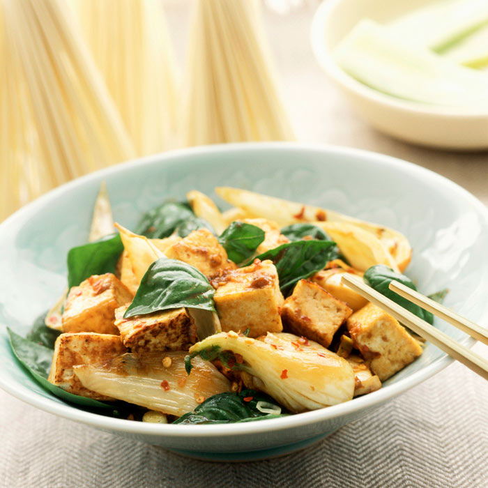 Sweet and Sour Tofu with Rice Noodles