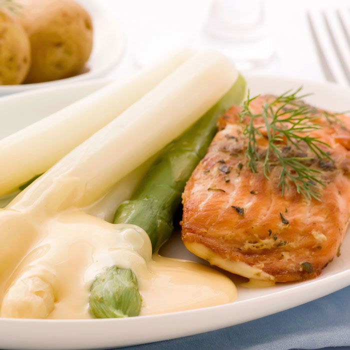 Poached Salmon with Dill Cream and Lemon Kasha