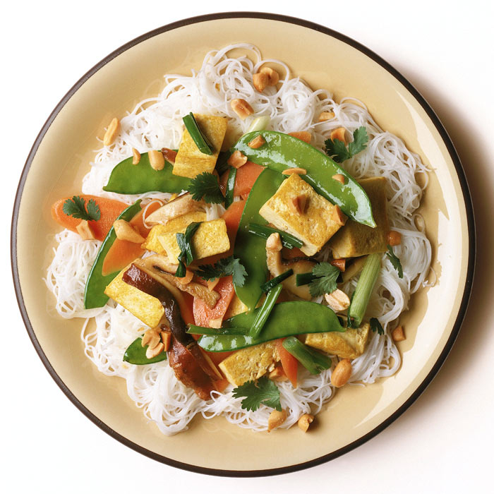 Tofu and Vegetables with Sesame Broth and Cellophane Noodles
