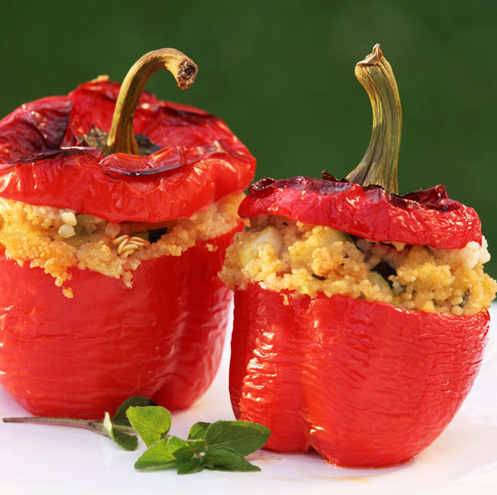 Red Peppers Stuffed with Quinoa