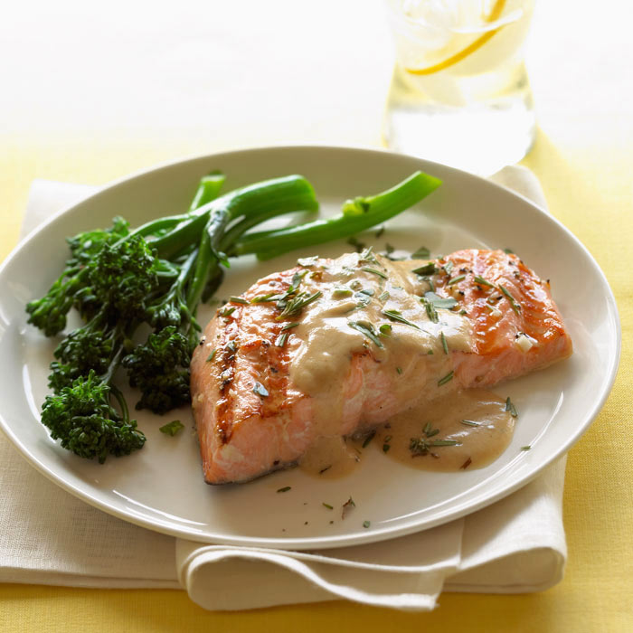 Roast Salmon with Broccoli Rabe and Quinoa