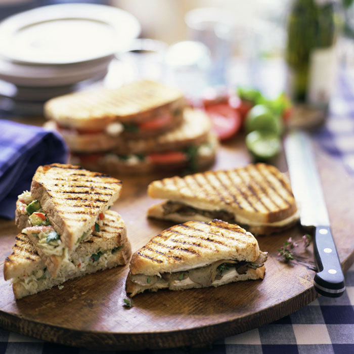 Portobello Panini with Herbed Goat Cheese
