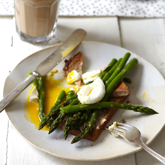 Poached Eggs over Asparagus on Toast
