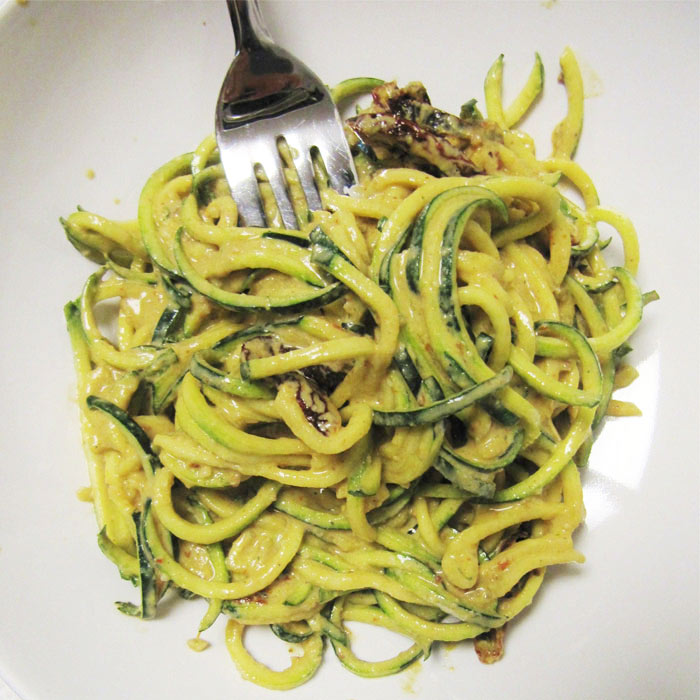 Zucchini Pasta with Creamy Cheese Sauce