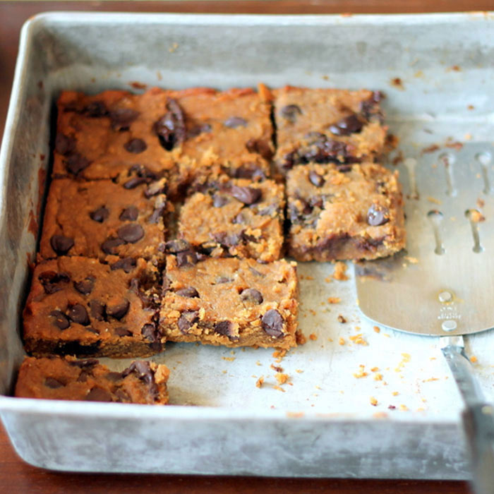 Flourless Chocolate Chip Chickpea Blondies with Sea Salt