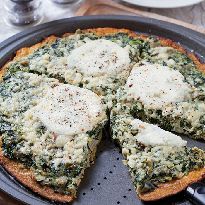 Spinach Artichoke Ricotta Pizza with Cauliflower Crust