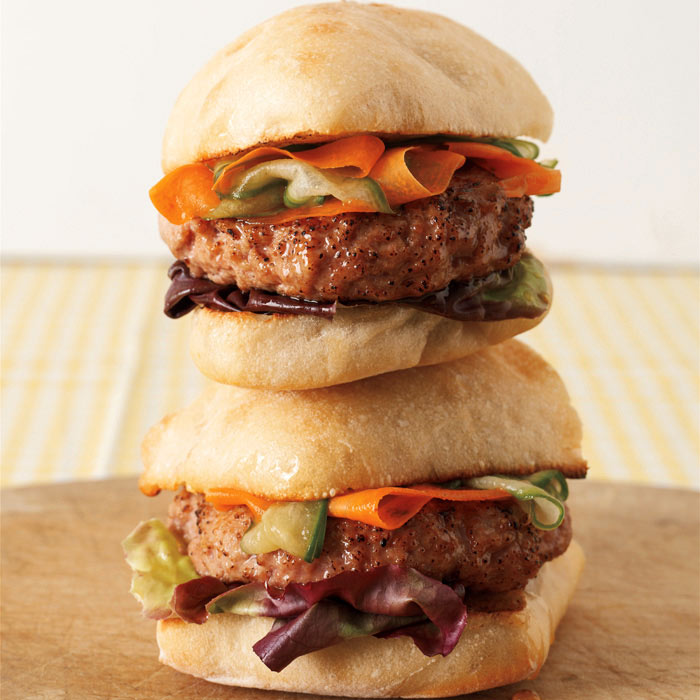 Turkey Burger with Ponzu Carrot and Cucumber Ribbons