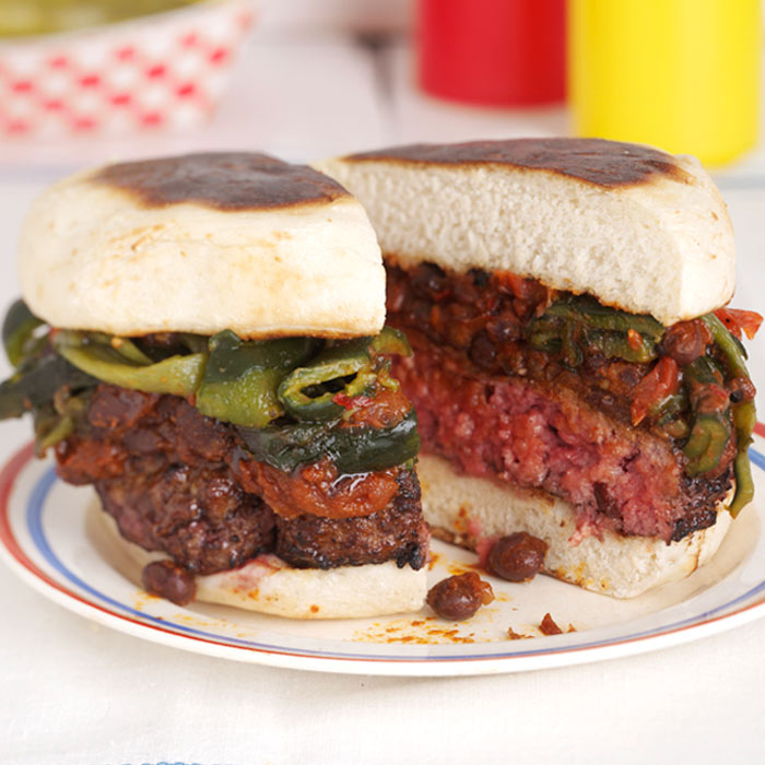 Bison Burger with Spicy Black Bean Chili