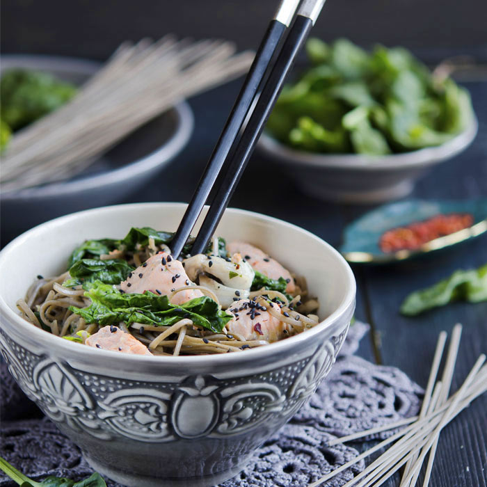 Asian Salmon Bowl with Spinach