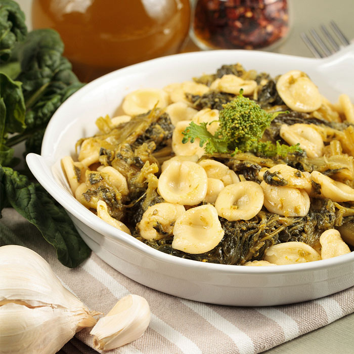 Orecchiette Pasta with Chanterelles, Spinach, Walnuts, and Shallots