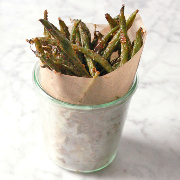 "Cheesy Oven-Baked Green Bean ""Fries"""