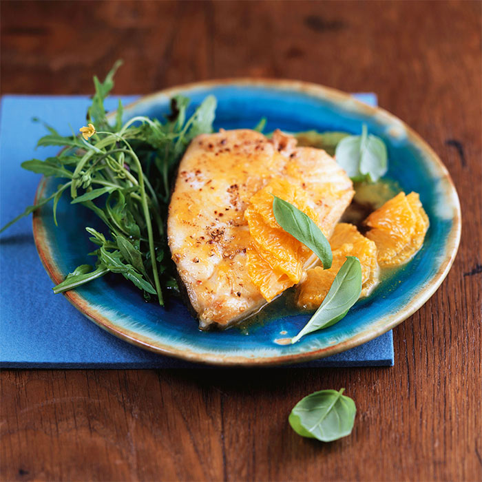 Pan Roasted Halibut Over Fennel and Citrus Salad | Shape Magazine