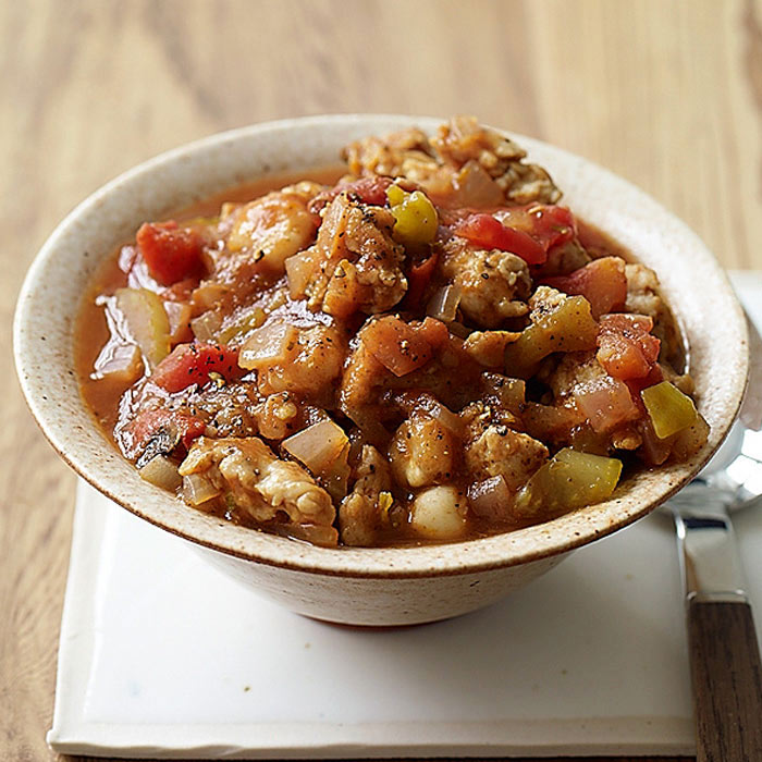 Southwest Hominy and Turkey Sausage Stew