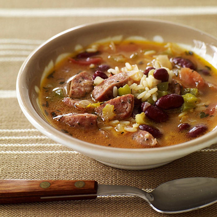 Red Bean, Sausage, and Rice Soup