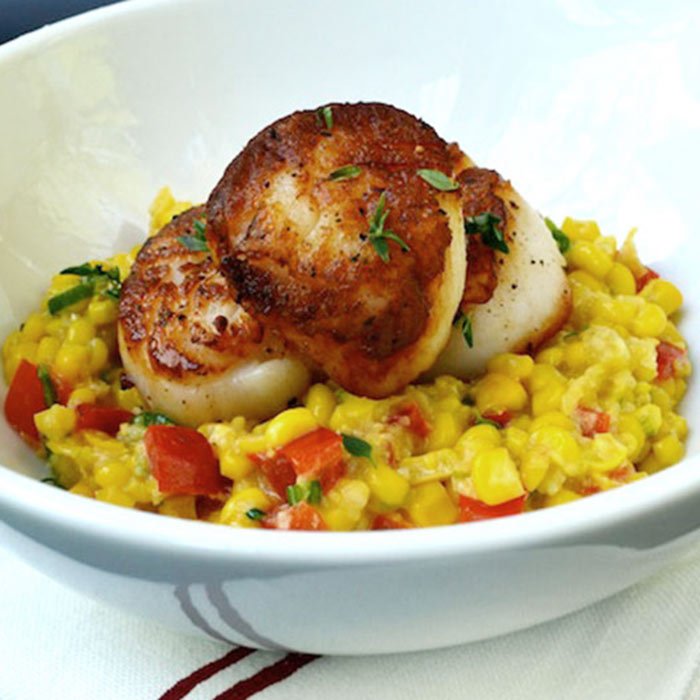 Thyme Seared Scallops on Coconut Creamed Corn with Red Bell Peppers
